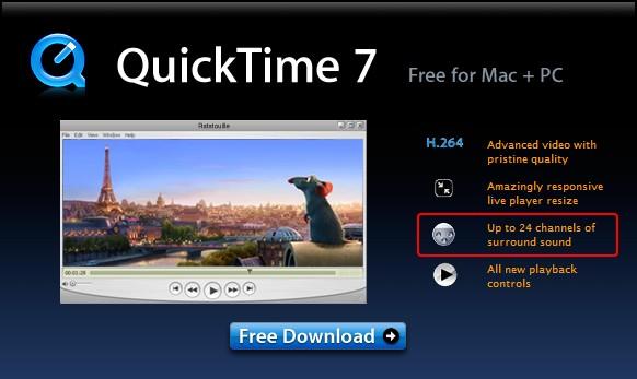 QuickTime - проигрыватель файлов формата AVI, AVR, MPEG-1, H.263, и OpenDML